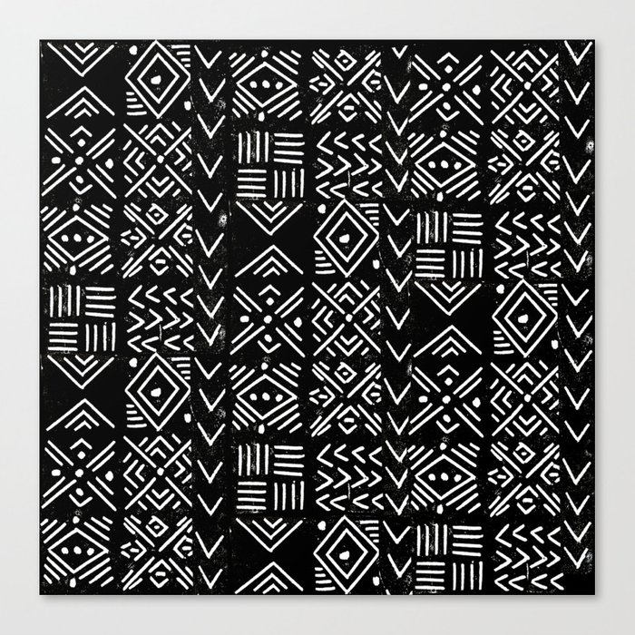 Mudcloth 3 Black And White Minimal Pattern Linocut Print Abstract Canvas Print By Monoo