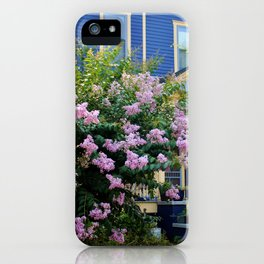 Blue With Yellow Trim House iPhone Case