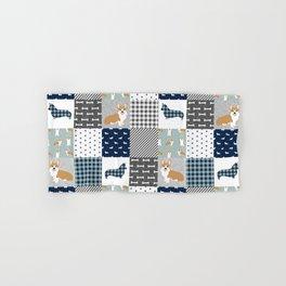 Corgi Patchwork Print - navy, dog, buffalo plaid, plaid, mens corgi dog Hand & Bath Towel