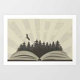 Dark forest in open book with raven Art Print