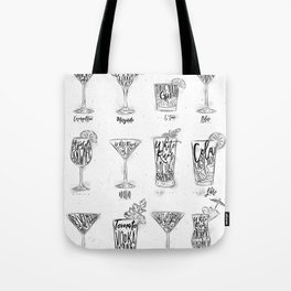 Cocktail menu graphic Tote Bag