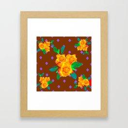 Chocolate Brown Golden Rose Violet Accents Framed Art Print