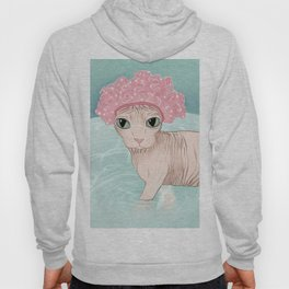 No Hair Don't Care - Sphynx Cat Wearing a Shower Cap in a Bathtub - Wrinkly Hairless Kitty Hoody