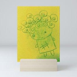 Curly Hair Girl Mini Art Print