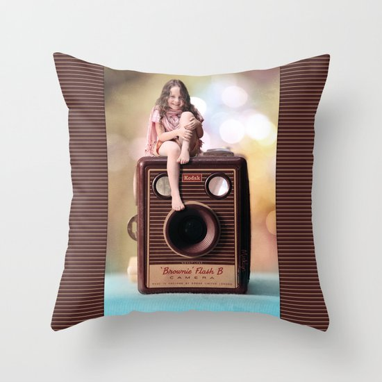 Smile for the Camera - vintage Kodak Brownie camera with miniature girl. Throw Pillow