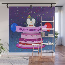 Penguin Surprise Birthday Wall Mural