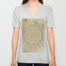 tan splash mandala swirl Unisex V-Neck