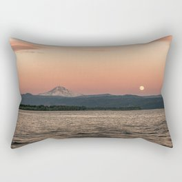 Mt. Hood Moonrise at Sunset Rectangular Pillow
