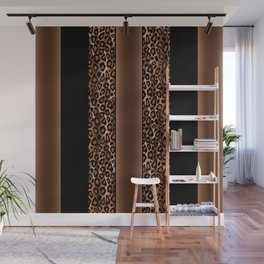 Brown and Black Leopard Animal Pattern Print Wall Mural
