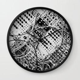 analog synthesizer  - diagonal black and white illustration Wall Clock