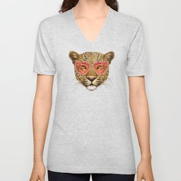 Leopard in Love! Portrait of Leopard with sunglasses. Unisex V-Neck