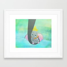 dumbo and his mom Framed Art Print