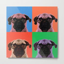 Geek Pug in 4 Colors Metal Print