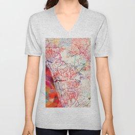 Carlsbad map California painting Unisex V-Neck
