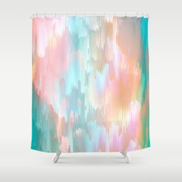 Candy Rainbow Glitch Fall #abstractart Shower Curtain