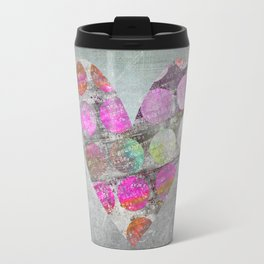 Passion Grey Mixed Media Heart Art Travel Mug