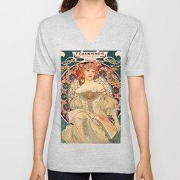 Mucha Daydream Art Nouveau Edwardian Woman Floral Portrait Unisex V-Neck