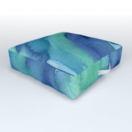 Abstract Blue Aqua Watercolor Painting Texture Outdoor Floor Cushion