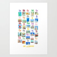ABC alphabet poster Boston Art Print