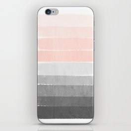 Color story millennial pink and grey transition brushstrokes modern canvas art decor dorm college iPhone Skin