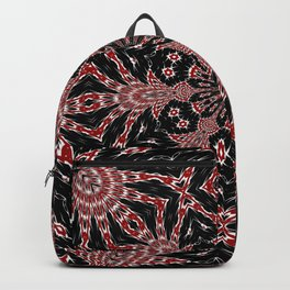 Intricate Black Red and White Kaleidoscope Backpack
