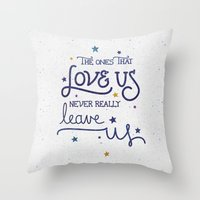 snape Throw Pillows featuring Never leave us by Earthlightened