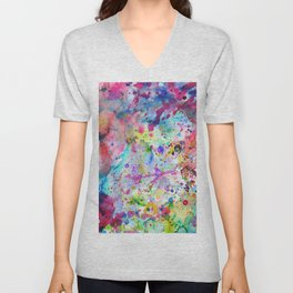 Abstract Bright Watercolor Paint Splatters Pattern Unisex V-Neck