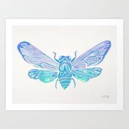 Summer Cicada – Blue Ombré Palette Art Print
