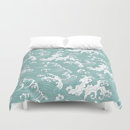 Traditional Hand Drawn Japanese Wave Ink Duvet Cover