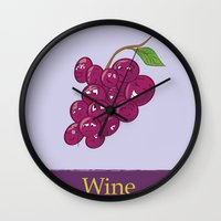 wine Wall Clocks featuring Wine by Heather Martinez