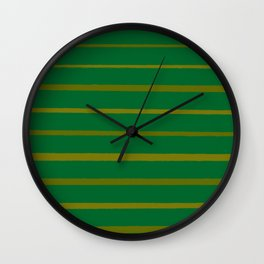 Emerald Green and Honey Gold Thin Stripes Wall Clock