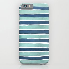 Aqua Teal Stripe iPhone Case