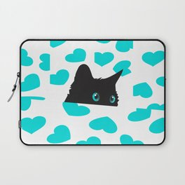 Cat on Blanket with Hearts Laptop Sleeve