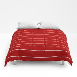Abstract White Lines on Red Comforters