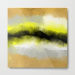 Golden Whispers - Abstract Art Acrylic Painting Metal Print