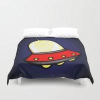 spaceship Duvet Covers featuring Spaceship by Caroline Blicq