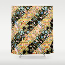 Crazy Patchwork Triangles Shower Curtain