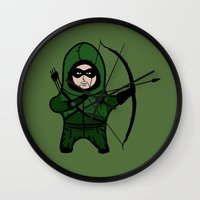 green arrow Wall Clocks featuring Green Arrow by YiannisTees
