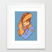 taco Framed Art Prints featuring Taco Cowboy by Jonah Makes Artstuff