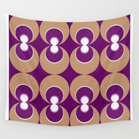 70s Wall Tapestries featuring 70s Purple circles by Cdill