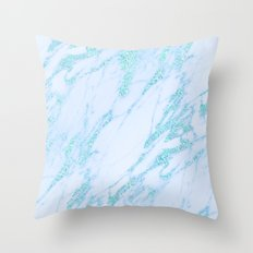 Turquoise Marble - Shimmery Glittery Turquoise Blue Teal Green Marble Metallic Throw Pillow