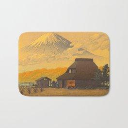 Vintage Japanese Woodblock Print Sepia Japanese Farm Mount Fuji Farmer Bath Mat