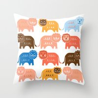 lions Throw Pillows featuring Lions  by Claire Brown Surface Pattern