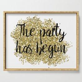 The party has begun - golden jazz Serving Tray