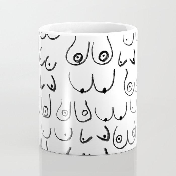 Boobs Pattern - black and white line drawing, life drawing, feminine art Coffee Mug