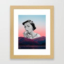 Retro Lunar Besos - Collage Artwork - Full Moon Ritual Vibes Framed Art Print
