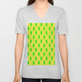 Polka Dot Pattern Cat In Lime and Yellow Unisex V-Neck