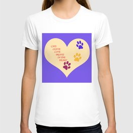 Cats Leave Love Prints In The Heart By Annie Zeno  T-shirt