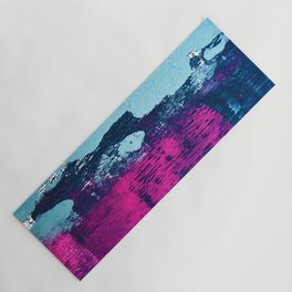 Early Bird: A vibrant minimal abstract piece in blues and pink by Alyssa Hamilton Art Yoga Mat