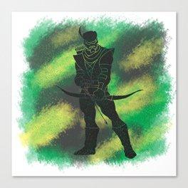 Green Arrow Splatter Background Canvas Print